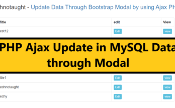 Update Data Through Bootstrap Modal by using Ajax PHP